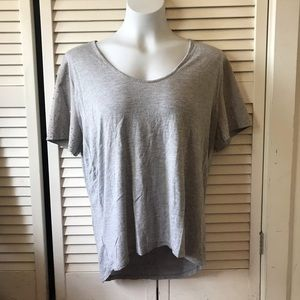 Ann Taylor Gray T-Shirt Beaded Sleeves
